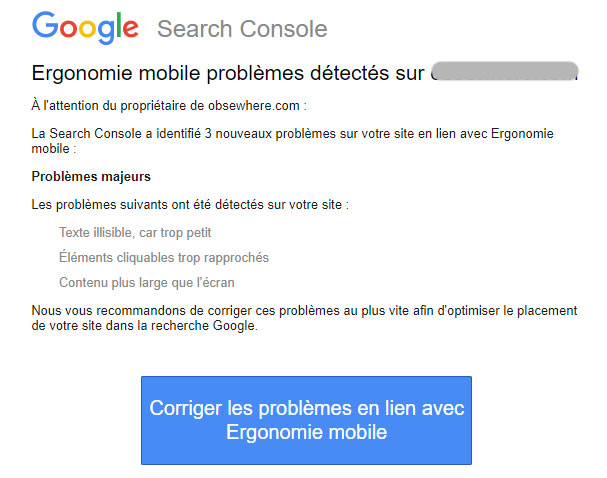 Message Google Search Console corriger affichage mobile