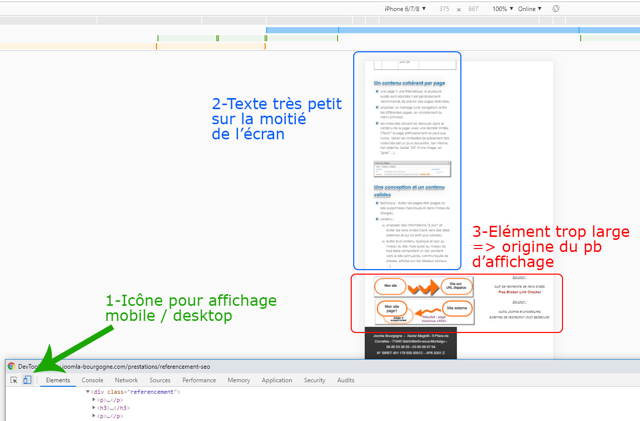 console chrome affichage mobile