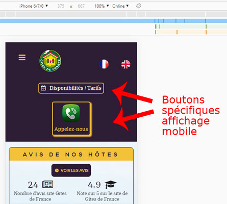 bouton call to action affichage site mobile